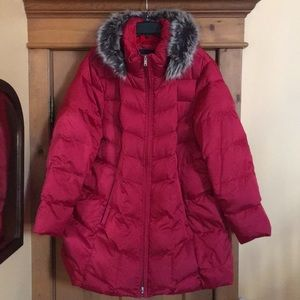 Lands End Winter Down Jacket with Faux fur hood
